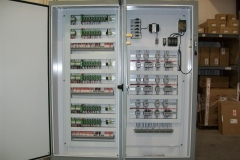 Multiple motor and PLC controller for a food processing plant.  This cabinet controls motors and monitors processes for a food processor plant